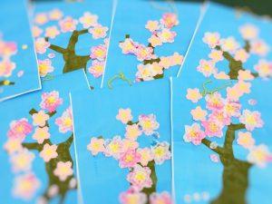 杉並区 放課後等デイサービス まぁぶる高井戸 桜の花の切り絵